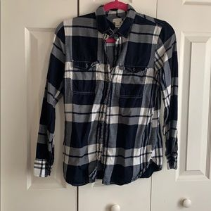 j. crew navy and white flannel